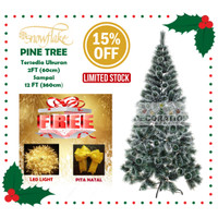 SALE + BONUS ORNAMEN Pohon Natal Snow Flake Pine Tree 90 CM / 3FT
