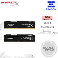 Kingston HyperX Fury DDR4 32GB 3200MHz (16GB x2 Kit) RAM