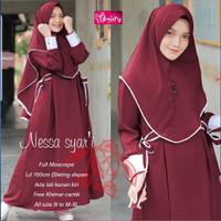 Dress Baju gamis wanita Nessa Syari set hijab - Harmoni_official - Maroon, All size L