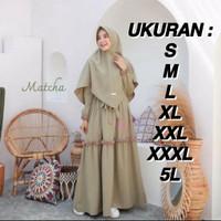 Set Gamis Khimar | Haniyyah Syar'i + Jilbab | Jumbo Size | S M L XL 5L