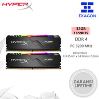 Kingston HyperX Fury DDR4 RGB 32GB 3200MHz (16GB x2 Kit) RAM
