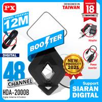 Antena TV Digital Analog DVB-T2 4k High Gain 25-Db PX HDA-2000B Hitam