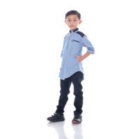 Baju Koko Anak Laki Laki Umur Remaja Cowok Tanggung Lengan Pendek - Biru, S
