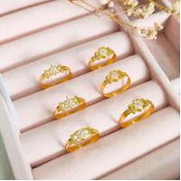 Cincin wanita model tipis korean style elegant stylish emas asli