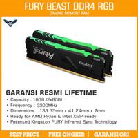 RAM KINGSTON HYPERX FURY RGB DDR4 16GB KIT 3200 2x8GB GARANSI LIFETIME