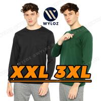 Baju Kaos Lengan Panjang Polos Kantong Jumbo Big Size Cowok Pria 24s - Hijau, XXL