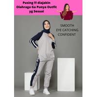 Setelan baju olahraga wanita muslimah training senam yoga zumba Nisa