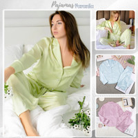 Piyama Lengan Panjang Baju Tidur Wanita Dewasa Bahan Katun Jepang 100% - S