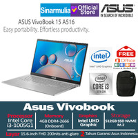 Asus Vivobook 15 A516 i3-1005G1 512GB SSD 4GB 15.6 Inch FHD Win10+OHS
