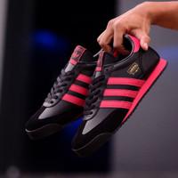 sepatu adidas dragon casual pria color black strip red original