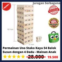 Permainan Uno Stacko Kayu 54 Balok Susun dengan 4 Dadu - Mainan Anak