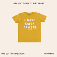 Rizigo Kids Kaos Anak Series Font IV - Kaos Anak Laki - Baju Anak - Kuning Honey, 2-3 tahun
