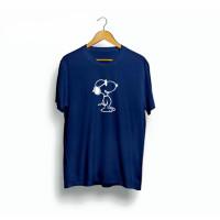 kaos custom gambar Snoopy oversize murah baju jumbo cotton combed 30s - Navy, M