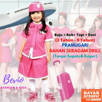 Kostum Profesi Anak Pramugari Setelan Baju Perempuan Cewek Kijang - 3-4 tahun