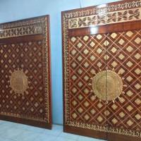Pintu Ukir Jati Motif Masjid Nabawi
