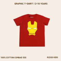Baju Anak Rizigo Kids Iron Man - Kaos Anak Laki - Kaos Anak - Merah, 2-3 tahun