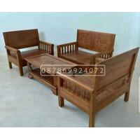 kursi tamu kayu jati berkualitas minimalis 211 seater ukir khas Jawa