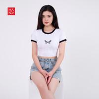 HanaFashion - Butterfly Crop Top Kaos Lengan Pendek Wanita - CT061