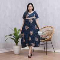 dress renda wanita/home dress/daster wanita/baju hamil/baju tebal/dres - kupu navi