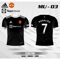 Jersey MU CR7 baju kaos Ronaldo MU 01 - Hitam, XS