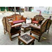 kursi tamu kayu jati ukir klasik khas jawa asli Jepara lengkap matras