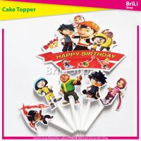 Cake Topper HAPPY BIRTHDAY BoboiBoy Hiasan Kue Ultah Ulang Tahun
