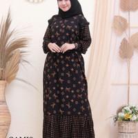 gamis batik-busana muslim wanita-dress batik halus-gamis batik wanita - A