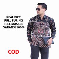 Kemeja Batik Pria Lengan Panjang Premium Baju Batik Aluna BAK 086