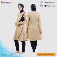 Baju Renang Muslimah + Rocella Swimwear Greysia + Setelan Renang Jumbo - Moccacino, S-M