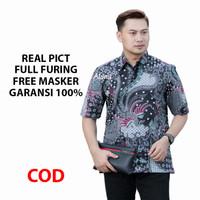 Kemeja Batik Pria Lengan Pendek Batik Aluna Premium BAK PD 021 - S