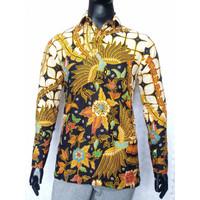 Kemeja Batik Kerja Lengan Panjang Motif Manuk Kawung Kuning SP499