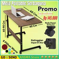 Meja Laptop Roda Standing Desk Adjustable Meja Laptop Lipat Portable - Cokelat Tua