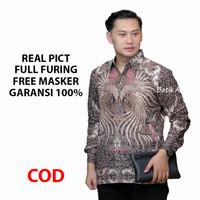 Kemeja Batik Pria Lengan Panjang Premium Baju Batik Aluna BAK 013 - S