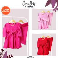 Gamis Balita Perempuan Set Hijab - Pakaian Baby Perempuan 3 - 18 Bulan