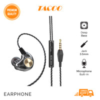 TACOO In-Ear Earphone Earbuds Hi-Fi Deep Bass Braided Cable with Mic