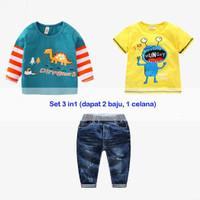 Baju Setelan Anak Laki Laki Dinosaurus Hungry - 2 (1-2T)
