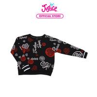 Justice Girls Crew Neck Sweatshirt Black Print- Sweater Anak Perempuan