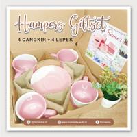 Hampers Kado Gift Paket Cangkir Lepek Keramik Twotone Cangkir Kopi