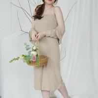 setelan baju wanita terbaru korea murah rajut / dress set outer ghia - cream