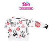 Justice Girls Crew Neck Sweatshirt White Print- Sweater Anak Perempuan