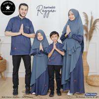 Sarimbit Keluarga Koko Kurta Gamis Anak Dewasa Baju Muslim Couple Blue