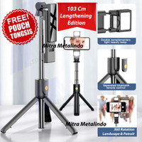 Tongsis Bluetooth Tripod with DUAL LED Selfie Stick Remote Control