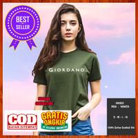 Baju Kaos Distro Giordano Non Original Pria Wanita Hijau Army S M L XL