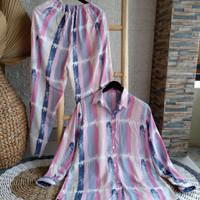 Setelan baju pajamas wanita katun rayon premium daily set tie dye