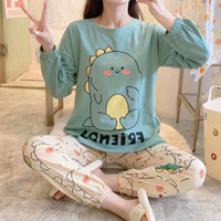 Baju tidur wanita piyama impor stelan panjang PP big murah-hijau