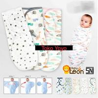 Bedong Bayi Instan Tempel/Bedong Baby Merek Baby Leon Motif Halus