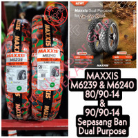 80/90-14 & 90/90-14 Maxxis M6239 & M6240 - Sepasang Ban Dual Purpose