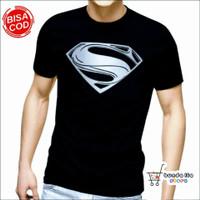 Kaos T shirt Superman Man Of Steel Superhero Pria Dewasa Baju Distro - Hitam, S