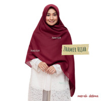 Jilbab Segiempat Syari Polos Hijab Umama Saudia Syar'i Kerudung Katun