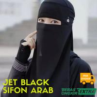 Kain JET BLACK Hitam Pekat Sifon Arab Untuk Cadar, Niqab dan Khimar